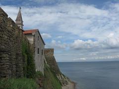Piran (DusanV) Tags: blue sea cloud green tower water eu slovenia walls piran slovenija slovene updatecollection