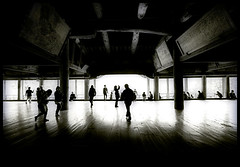 Senjokaku Hall (` Toshio ') Tags: light shadow people blackandwhite bw woman man men art history japan walking asian temple japanese hall asia buddha interior buddhist crowd tourists hiroshima miyajimaisland miyajima historical duotone buddhisttemple silouettes toshio senjokaku mountmisen senjokakuhall pavilionof1000mats
