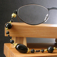 Classic Black in Gold Handmade Eyeglass Holder (Gilliauna) Tags: women handmade accessories beaded eyewear lanyard blackandgold eyeglassholder eyeglassnecklace eyeglasschain eyeglasslanyard eyeglasseschain bitsandbeads eyeglassretainer