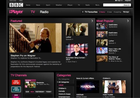 beta iPlayer homepage