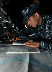 USS Thach Sailors work with nautical charts while off Brazilian coast (Official U.S. Navy Imagery) Tags: brazil navy sailor usnavy riogrande guidedmissilefrigate nauticalchart quartermaster atlanticphase ussthachffg43 unitas52