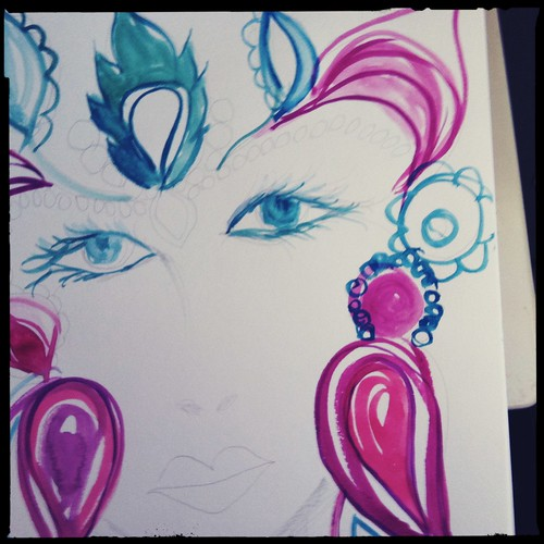 face in my journal step 2l-initial painting