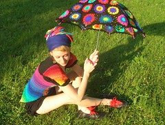 Crochet Umbrella - Granny Square Parasol And Embellished Rainbow Crochet Top (babukatorium) Tags: pink flowers blue red summer orange black color green art wool fashion yellow dreadlocks umbrella circle rainbow funny colorful purple handmade top turquoise burgundy oneofakind crochet moda violet style tshirt shades cotton parasol blonde gradient romantic hippie dread psychedelic dreads arcobaleno tulle rasta multicolor striped whimsical extensions ombrello darkblue haken asymmetric fakedreads hkeln emeraldgreen croch grannysquares ganchillo fuxia uncinetto cotone yarnhair fattoamano woolhair yarndreads  dreadextension horgolt wooldread babukatorium