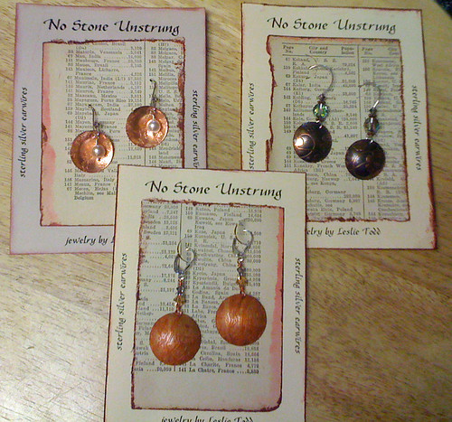 various copper earrings