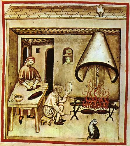 002- Preparando alimento asado-TACUINUM SANITATIS- Biblioteca Casanetense Ms. 4182