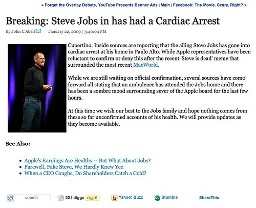 Steve Jobs Heart Attack Hoax on Wired.com