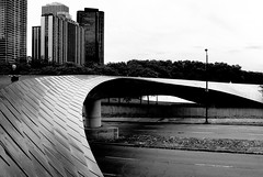 BP Pedestrian Bridge (dicksoto) Tags: chicago stainlesssteel millenniumpark frankgehry girderbridge bppedestrianbridge withonepedestrian