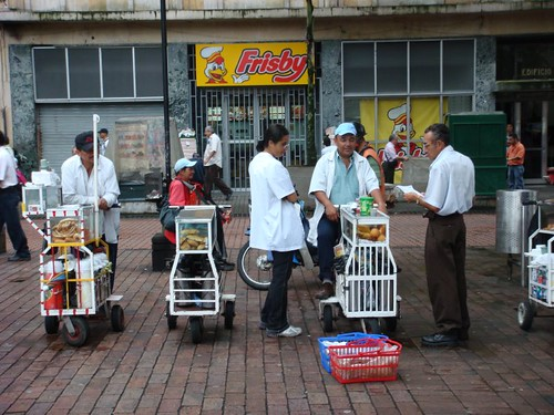 Morning coffee vendors in Pereira, Colombia.