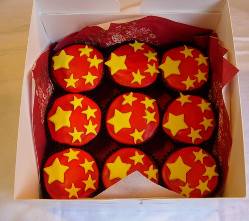 Chinese Flag Cupcakes
