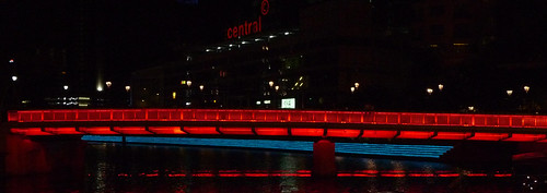 illuminated bridge, Singapore, Clarke Quay