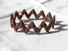 Fledged: The Bangle. (geometricjewels) Tags: armband corner beads triangle jewelry donut doughnut bracelet peyote zigzag perlen bugle delicas geometricjewels