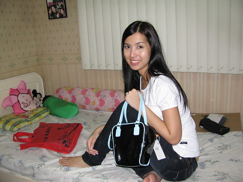 My sister posing with the dSLR bag