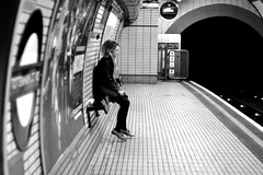 Solo (DeeMac) Tags: deleteme6 london underground alone savedbythedeletemegroup tube 50mm14 tired tottenhamcourtroad trainplatform prettygirl saveme11 londonist nikond90 unanisave timeplace cool8 iceboxcool jaketpwide
