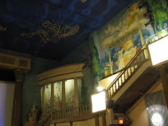 Latchis Main Theater (amyboemig) Tags: old lamp statue stone movie temple mural theater vermont cement screen fancy historical artdeco zodiac cupid athena brattleboro fresco myth psyche chariot latchis