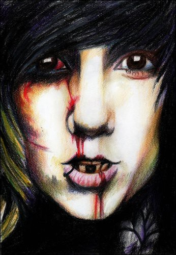 Drawing of Oli Sykes bleeding. another drawing of oli