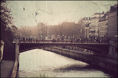 Paris - little bridge (Manlio Castagna) Tags: world bridge sky people paris texture river manlio texturized manliok