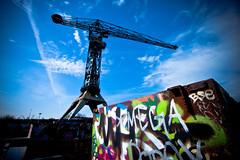 NDSM-meeting... (zilverbat.) Tags: blue sky urban holland netherlands dutch amsterdam clouds canon fun industrial warf artistic grafiti grunge creative meeting ndsm kraan amsterdamnoord vignet colers 40d zilverbat fma110409