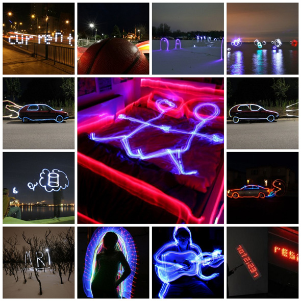 Shine in the Dark: From Light Graffiti and Light Writing to Bachelor Party Installations and Activist LED Signs