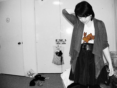 rabittee (___Steph.) Tags: white black rabbit fashion bedroom bored clothes tee