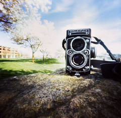 portrait of a pretty camera (manyfires) Tags: camera film oregon rolleiflex portland spring pinhole pacificnorthwest pdx cherrytrees zeroimage waterfrontpark palabra zeroimage2000