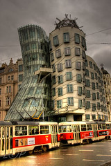Dancing Building (HDR) (Lee Orchard Photography (LeoPhotography)) Tags: building wet architecture traffic prague cloudy tram praha czechrepublic raining hdr dancingbuilding fredginger photomatix famousbuilding singleraw leeorchard leophotography