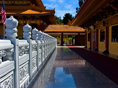 Endless Terrace (lefeber) Tags: california reflection architecture temple vanishingpoint terrace angles americanflag railing buddhisttemple hsilaitemple