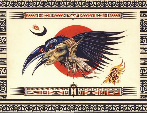 (tarudesign) Tags: art nature illustration gnome native drawing spirit aquarelle feather tribal sage fairy crow pixies creature raven shaman chaman mutation corbeau