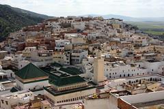 Above The Mausoleum (MykReeve) Tags: roof building green buildings tile countryside minaret horizon hill mosque morocco tiles tiling moulayidriss المملكةالمغربية المغرب مولايإدريس geo:lat=34055442 geo:lon=5520823