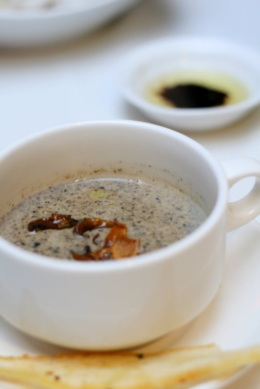 Wild Trio Mushroom Soup with Truffle Oil and Gruyere Toast