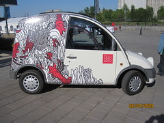 The Mvbox car (All About Eve) Tags: red white art mobile rouge idea restaurant solar fantastic open power close mechanical box container commercial lobster blanc brilliant bote homard solaire nergie muvboc mvboc