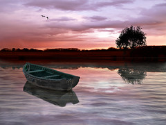 Red Sunset (DDA / Deljen Digital Art) Tags: uk morning light shadow england sky cloud lake colour reflection nature water composite swimming photoshop landscape evening countryside spring fishing scenery view digitalart scenic reserve created northumberland creation burn cover naturereserve blended dodge imagination layers bathing filters pleasure atmospheric fantasyland skinnydipping imaginative blend enhance layered cs4 fantasyworld photographcart