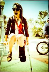 Das Boot (The-Wu) Tags: california camera film beach girl 35mm toy boot lomo lca lomography leg plastic newport crutches