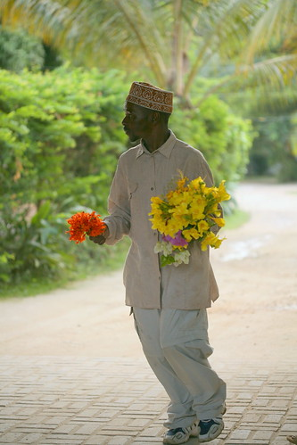 attendant with picked flowers