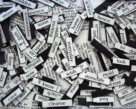 pile of word magnets image