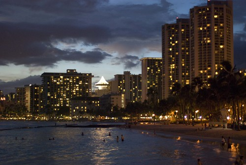 Waikiki Beach after Dark