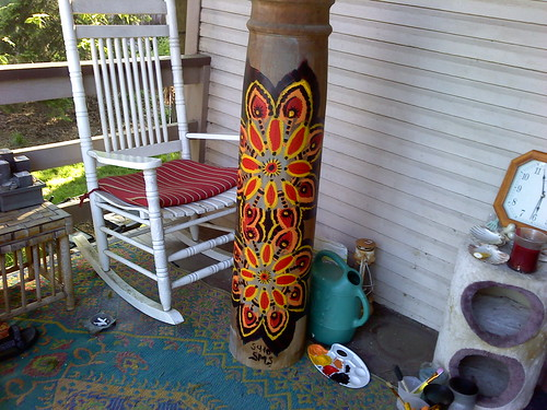 The finished column on Jaqui's porch.