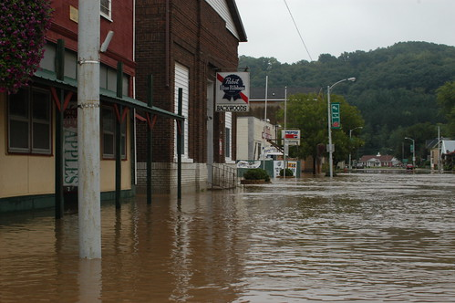 The downtown of Gays Mills was flooded when the local river jumped its banks.