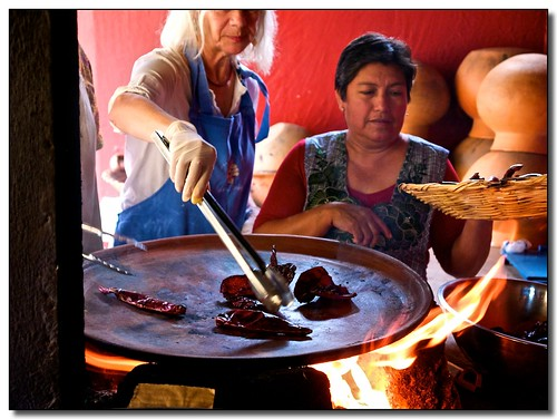 Toasting the Dried Chilies on the Comal
