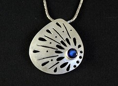 """""""Lace"""" Silver Necklace (EfratJewelry) Tags: silver necklace handmade jewelry jewellery sterling gems pendant 925 gemstones silversmith iolite metalsmith sterlingsilver    semipreciousstones       efratjewelry"""