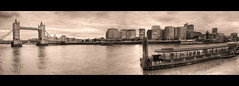 London panorama (Wilfried.B) Tags: blackandwhite bw panorama london thames sepia noiretblanc cityhall wideangle londres 1022mm hdr londontowerbridge photomatix canon40d wilfriedb