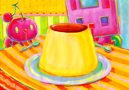 一枚絵_15_大きなプリンを見つめる、さくらんぼむーと四角うさぎ