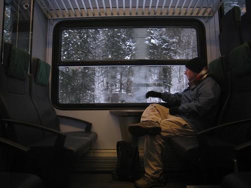 Taking in the snowy landscape