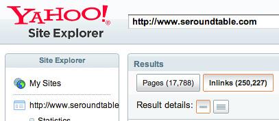 Yahoo Site Explorer Links