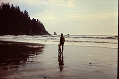 1969-03 Chad & Jerry at Short Sands Beach, Oswald West State Park, OR 041 (bsnenninger) Tags: ocean 1969 beach reflections pacific or silhouettes oswaldweststatepark stateparks shortsandsbeach chadn jerryn orstateparks