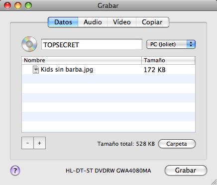 Captura de pantalla de Burn grabando un disco de datos con información confidencial
