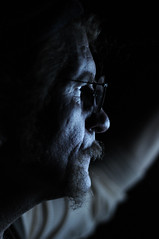 Facing the light (noamgalai) Tags: old blue light portrait man television beard photo tv photographer picture photograph bluelight   krystals  noamg noamgalai   newyorkfantasyphotoshootoff