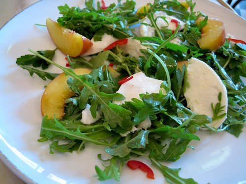 Buffalo mozzarella and nectarine salad at The Falconer, Darlinghurst