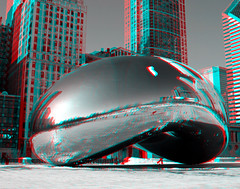 Chicago Bean 3D (Rach ) Tags: street trees winter plants house snow chicago cold color cars ice home apple fruit river landscape pier boat stereogram 3d king basket ducks charles slush anaglyph banana bean steam stereo yuck spaniel cavalier chacha cutest stereography