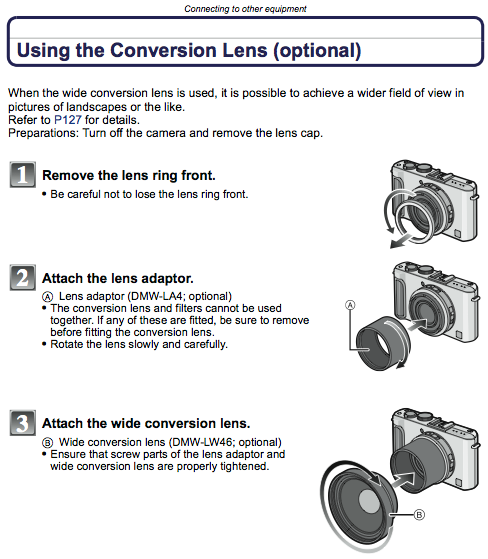 Using Conversion Lenses, as referenced on page 169 of the LX3 Manual