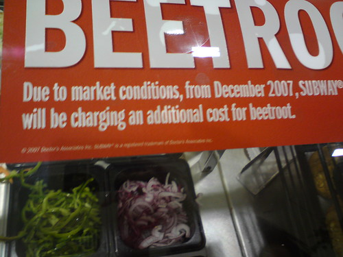 Subway keeps Beetrot a a cost option.